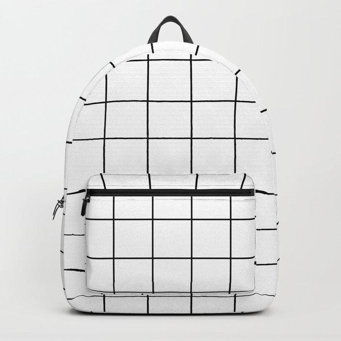 Grid Stripe Lines Black and White Minimalist Geometric Rucksack