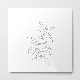 Plant one line drawing illustration - Ellie Metal Print