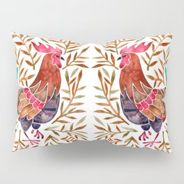 Le Coq – Watercolor Rooster with Sepia Leaves Pillow Sham