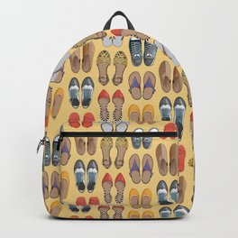 Hard choice // shoes on yellow background Backpack