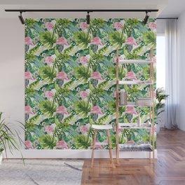 Pink green watercolor flamingo tropical monster leaves Wall Mural