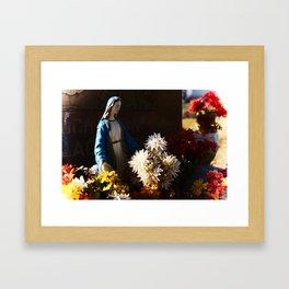 Mary among the flowers Framed Art Print