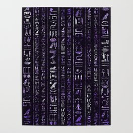 Amethyst and Silver Egyptian hieroglyphics pattern Poster
