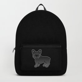 Black French Bulldog Dog Cute Cartoon Illustration Backpack