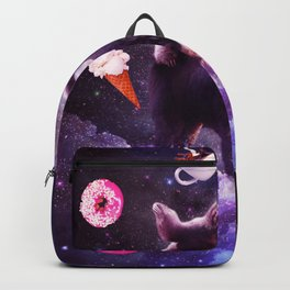 Outer Space Sloth Riding Llama Unicorn - Donut Backpack