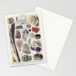 Minerals Larousse Pour Tous French Encyclopedia Lithograph Illustration Scientific Vintage Stationery Cards