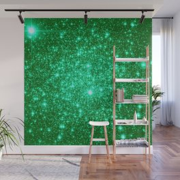 Emerald Green Glitter Stars Wall Mural