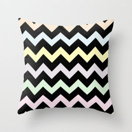 Pastel Chevron on Black Throw Pillow