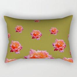 RAINING ANTIQUE PINK ROSE FLOWERS AVOCADO COLOR Rectangular Pillow