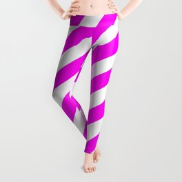 Diagonal Stripes (Magenta & White Pattern) Leggings