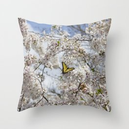 Swallowtail Butterfly in Cherry Blossoms Throw Pillow