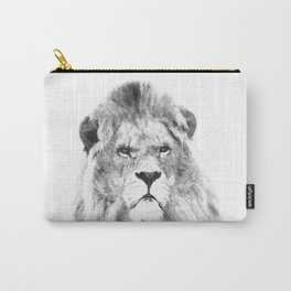 Black and white lion animal portrait Carry-All Pouch