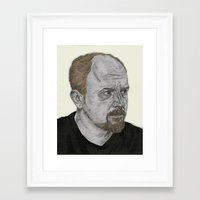 louis ck Framed Art Prints featuring Louis CK by Andy Christofi