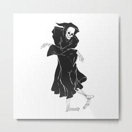 Dancing reaper - silhouette grim - skeleton cartoon - night angel Metal Print