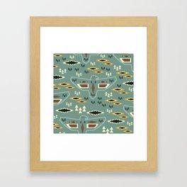 Native pattern with birds Framed Art Print