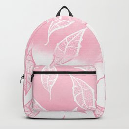 Modern pink white watercolor ombre lace leaf pattern illustration Backpack