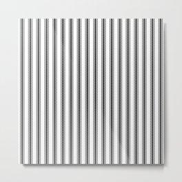 Black and White English Rose Trellis in Mattress Ticking Stripe Metal Print