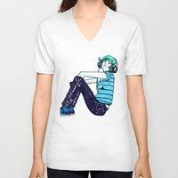 headphones V-neck T-shirts featuring Headphones Girl by Bexar Bellamy