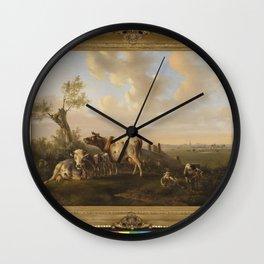 Albertus Verhoesen - Landschap met vee bij een vijver Wall Clock