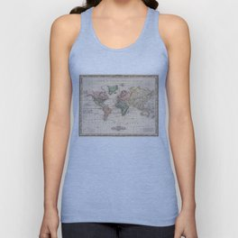 Vintage Map of The World (1833) Unisex Tank Top