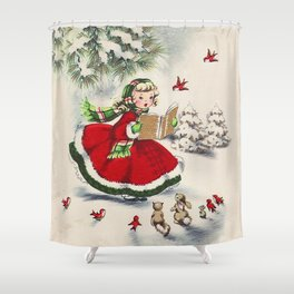 Vintage Christmas Girl Shower Curtain