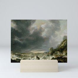 """Simon de Vlieger """"Ship in Distress off a Rocky Coast"""" Mini Art Print"""