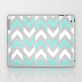 Teal & White Herringbone Chevron on Silver Wood Laptop & iPad Skin