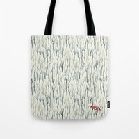 wood Tote Bags featuring Winter Wood by littleclyde