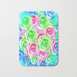 colorful rose pattern abstract in pink blue green Bath Mat