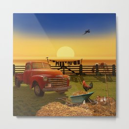Nostalgic Country Life Metal Print