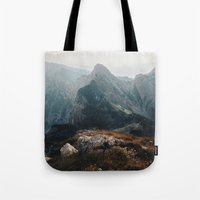 Tote Bags featuring Morning on the edge by Bor Cvetko