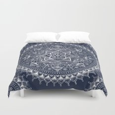 White Flower Mandala on Dark Blue Duvet Cover