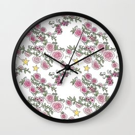 Project 52 | Pale Roses on White Wall Clock