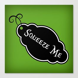 """""""Squeeze Me"""" Alice in Wonderland styled Bottle Tag Design in 'Garden Green' Canvas Print"""