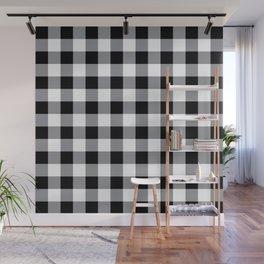 Farmhouse Style Black Buffalo Check Pattern Wall Mural