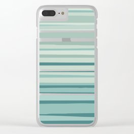 Striped Pattern Green, Teal, White Clear iPhone Case