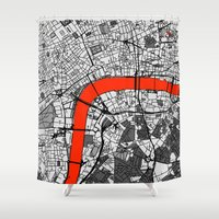 london map Shower Curtains featuring London Map by Dizzy Moments