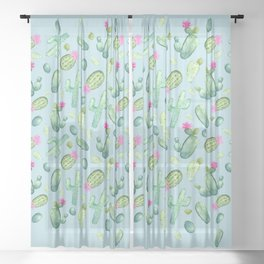 Green Cactus with Pink Bloom | Watercolor Cacti on Cyan Background Sheer Curtain