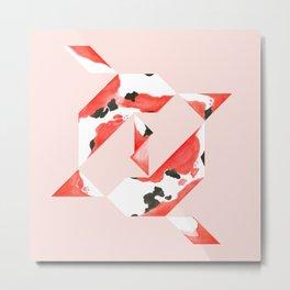 Tangram Koi - Pink background Metal Print