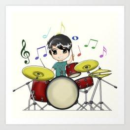 Chibi Drummer Art Print