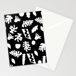 Black and white tropical house plant leaves minimal linocut pattern graphic scandi design Stationery Cards