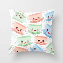 Cute blue pink green Kawai cup, coffee tea with pink cheeks and winking eyes, polka dot background Throw Pillow