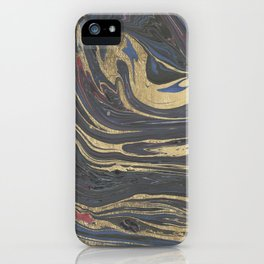Abstract navy blue gray coral gold marble iPhone Case