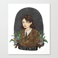 agent carter Canvas Prints featuring Agent Carter by strangehats