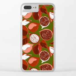 Pomegranate green Clear iPhone Case