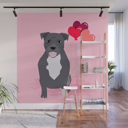 Pitbull love heart balloons valentines day gifts for pibble lovers grey and white Wall Mural