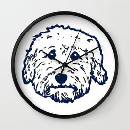 Goldendoodle dog face silhouette - perfect Golden doodle gift idea Wall Clock