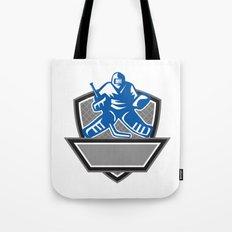 Ice Hockey Goalie Crest Retro Tote Bag
