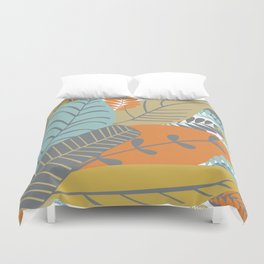 Bright Tropical Leaf Retro Mid Century Modern Duvet Cover