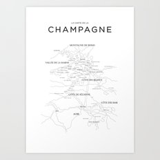 Champagne map Art Print